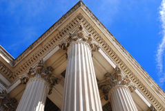 Three Pillars. Columns of the National Archives Building in Washington DC reaching towards the sky stock photos