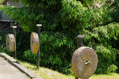 Three pillars ancient millstones along hang trees Stock Photography