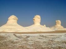 Three pillars in the White desert in Egypt, near Farafra Stock Photo