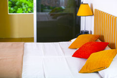 Three pillows in the hotel room Royalty Free Stock Photography