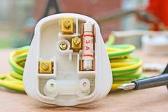 Three pin plug. Stock Photo