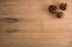 Three Pine Cones on a Countertop Stock Photo