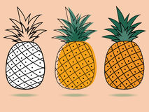 Three pineapple Stock Photography
