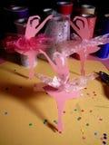 Three Pink Ballerinas Mixed Media Art royalty free stock photography