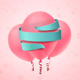 Three pink balloons with blue ribbon on pink background. royalty free illustration