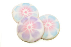 Three Pink and Blue Cookies Royalty Free Stock Photos