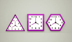 Three pink clock rendered on dark Royalty Free Stock Photos