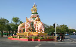 Three pink elephants. Statue Decoration for His Majesty the King, Bangkok Thailand Stock Photo