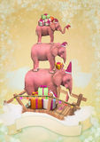 Three pink elephants in the sky with gifts Stock Photos