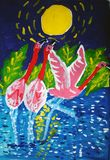 Pink flamingoes dancing painted by child. Three pink flamingoes dancing in a pond. Gouache painting made by child stock illustration