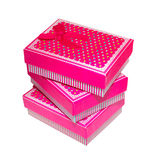 Three pink gift box Stock Images