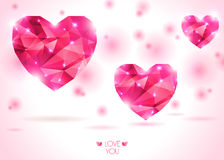 Three pink hearts on white backdrop with shadow. Vector Illustration. Abstract polygonal heart. Love symbol. Lights and pink sparkles. Low-poly colorful style Royalty Free Stock Photos