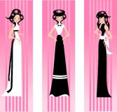 Three pink lady. Illustration of three women in dresses on a pink background Royalty Free Stock Photo