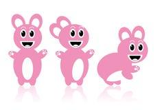 Three pink rabbits Stock Images