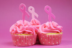 Three Pink Ribbon cupcakes close up. Stock Images