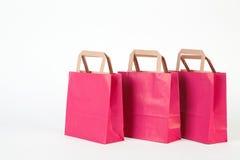 Three pink  shopping bag. Royalty Free Stock Photo
