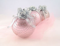 Three pink with silver sphere for Christmas tree Royalty Free Stock Photos