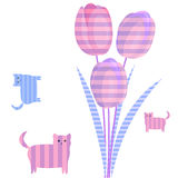 Three pink tulip and kittens Stock Photo