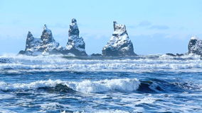 Three pinnacles of Vik, South Iceland in winter stock video footage