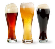 Three pints of beer Stock Photo