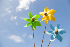 Three pinwheels Royalty Free Stock Photo
