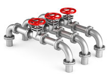 Three pipes and oil valves on white background Stock Image