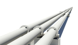 Three pipes stretching into distance. Isolated Stock Photo