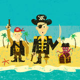 Three pirates. On an island Royalty Free Stock Images