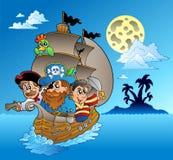 Three pirates and island silhouette Stock Illustration