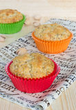 Three pistachios muffins Stock Photos