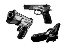 Three pistols Stock Images