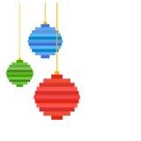 Three Pixel art Christmas tree ball. Flat design Royalty Free Stock Photos