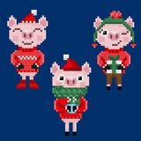 Three pixel christmas pigs in warm clothes. Isolated on blue background stock illustration