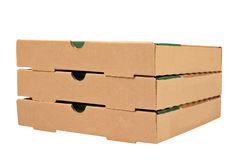Three pizzas boxes Royalty Free Stock Photography