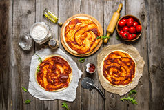 Three Pizzas Spread Tomato Sauce The Ingredients. Royalty Free Stock Images