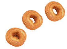 Three Plain Doughnuts Diagonally Royalty Free Stock Images