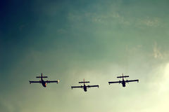 Three planes in the sky Royalty Free Stock Images