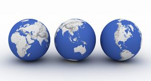 Three planet earth on white. With shadow Royalty Free Stock Image