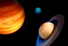 Three planets in space. Three planets in black outer space - jupiter, uranus, saturn Stock Photos