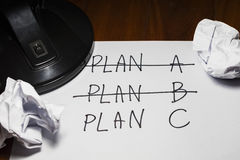 Three Plans , change of plan. Three Plans ,concept for change of plan Royalty Free Stock Image