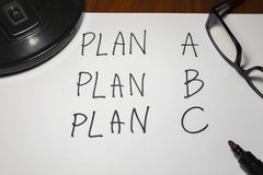 Three Plans , change of plan. Three Plans ,concept for change of plan Royalty Free Stock Photography