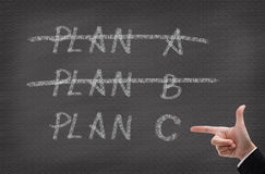 Three Plans. Concept for change of plan Stock Image