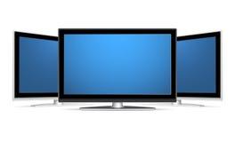 Three plasma LCD TV. Recievers with blank blue screens. Adobe Illustrator EPS8 file Stock Photo