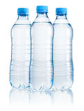 Three plastic bottle of drinking water isolated on white Stock Photo