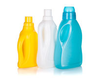 Three plastic bottles of cleaning product Stock Photos
