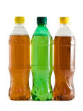 Three plastic bottles with a drink Royalty Free Stock Photo