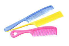 Three plastic combs with handles Stock Photography