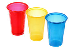 Three plastic cups Royalty Free Stock Images