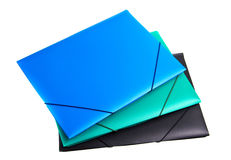 Three plastic files. Three colored plastic files white isolated Stock Photo