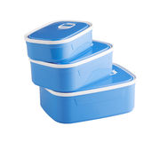 Three plastic food boxes Royalty Free Stock Image